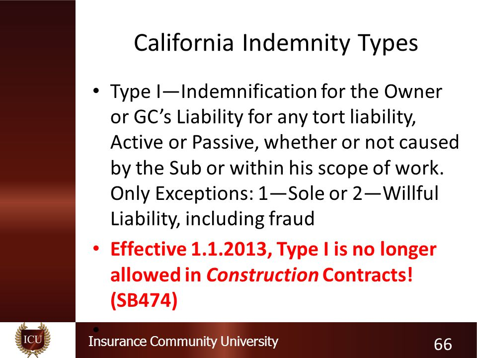 Insurance Community University California Indemnity Types Type I—Indemnification for the Owner or GC's Liability for any tort liability, Active or Pas