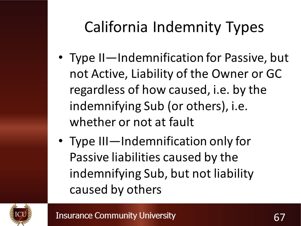 Insurance Community University California Indemnity Types Type II—Indemnification for Passive, but not Active, Liability of the Owner or GC regardless