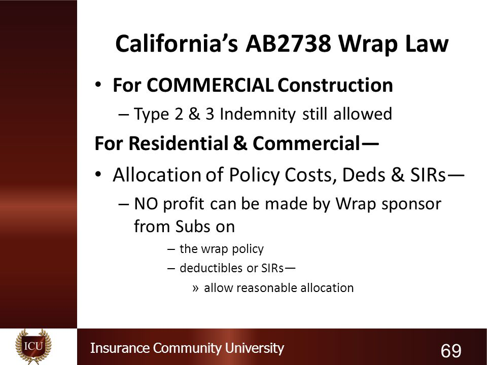 Insurance Community University California's AB2738 Wrap Law For COMMERCIAL Construction – Type 2 & 3 Indemnity still allowed For Residential & Commerc