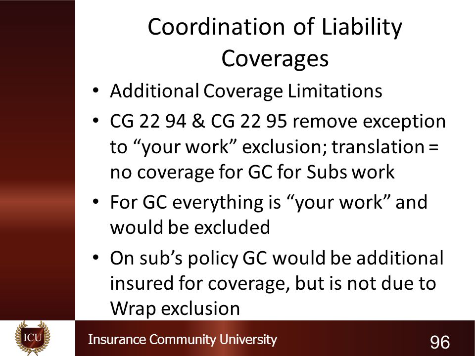 "Insurance Community University Coordination of Liability Coverages Additional Coverage Limitations CG 22 94 & CG 22 95 remove exception to ""your work"""
