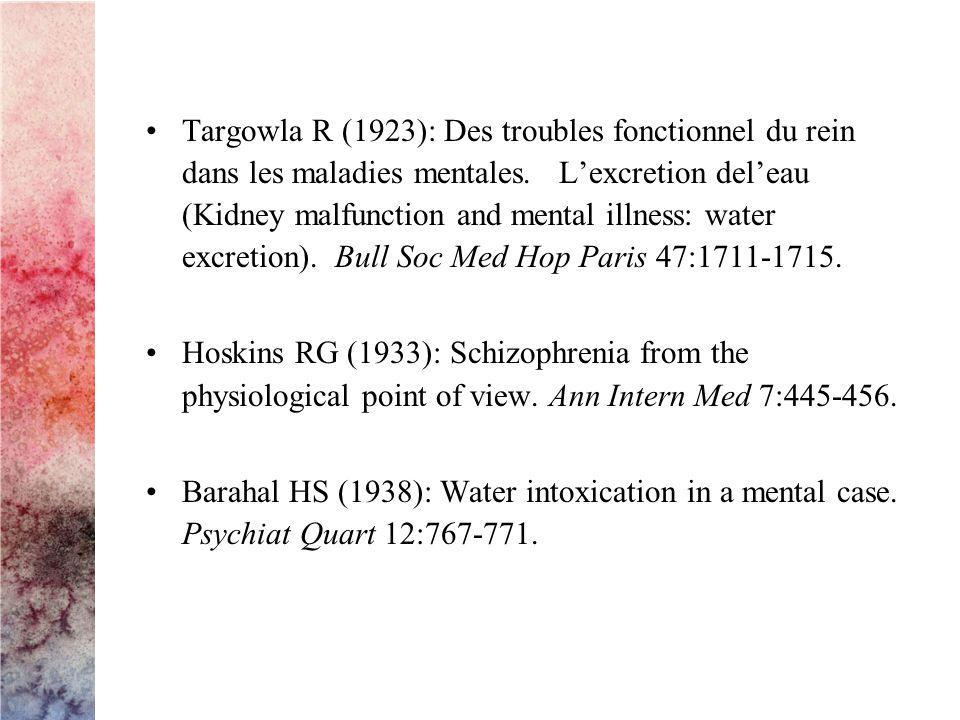 Targowla R (1923): Des troubles fonctionnel du rein dans les maladies mentales.