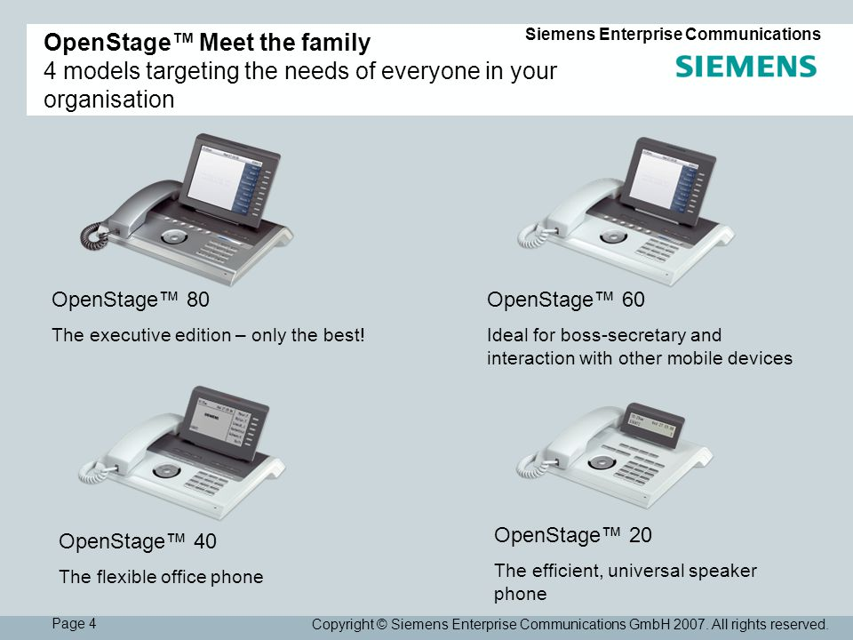 Page 4 Siemens Enterprise Communications Copyright © Siemens Enterprise Communications GmbH 2007.