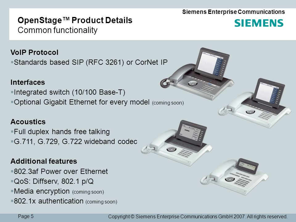 Page 5 Siemens Enterprise Communications Copyright © Siemens Enterprise Communications GmbH 2007.