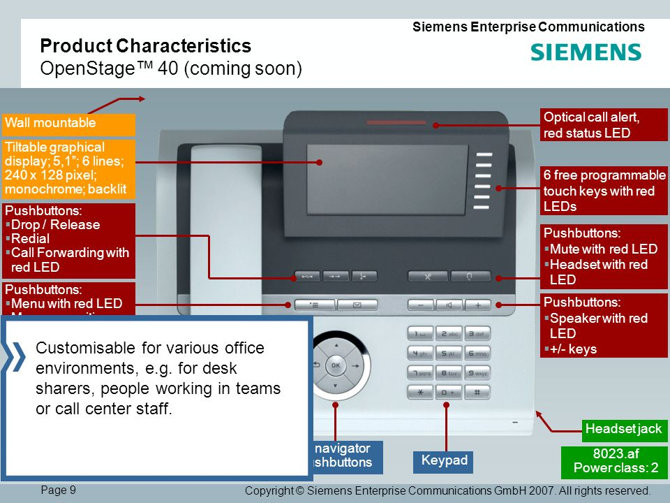 Page 9 Siemens Enterprise Communications Copyright © Siemens Enterprise Communications GmbH 2007.