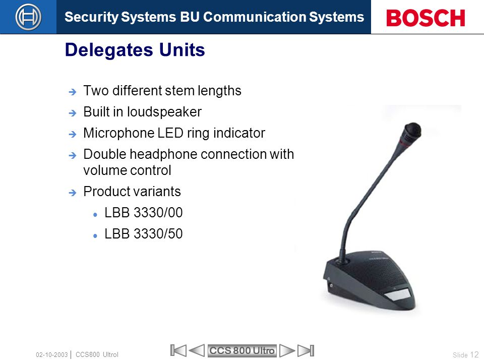 Security Systems BU Communication Systems Slide 12 CCS 800 Ultro CCS800 Ultrol 02-10-2003  Two different stem lengths  Built in loudspeaker  Microp