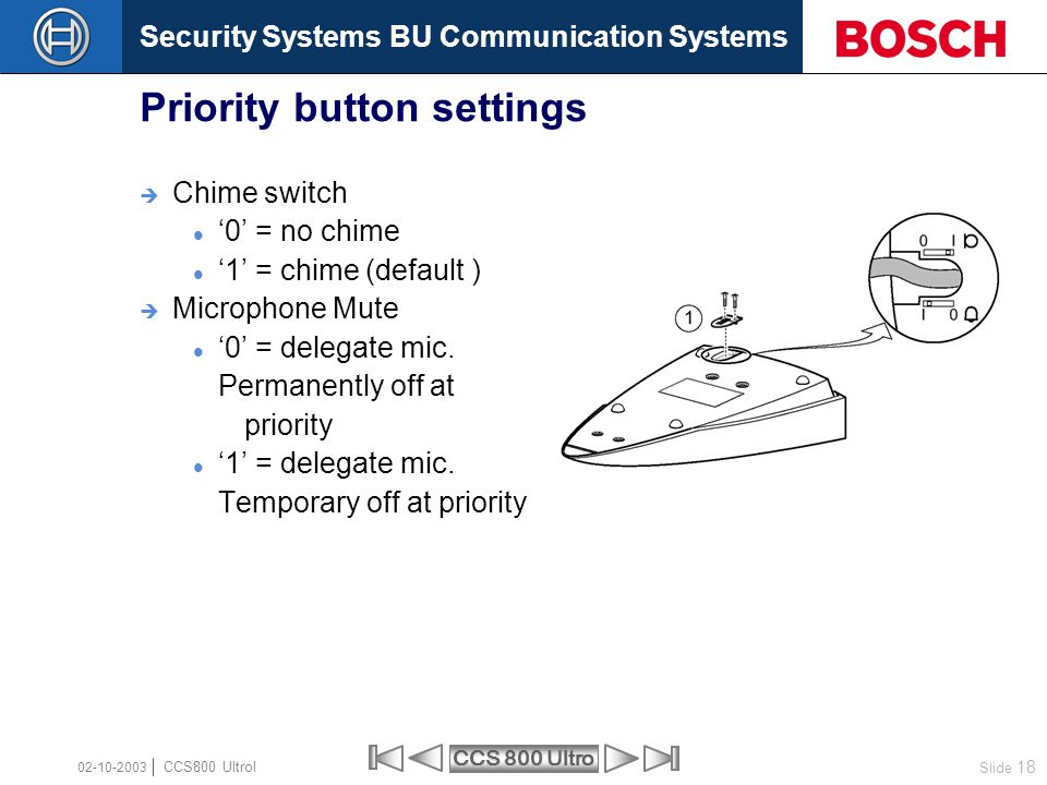 Security Systems BU Communication Systems Slide 18 CCS 800 Ultro CCS800 Ultrol 02-10-2003  Chime switch '0' = no chime '1' = chime (default )  Micro