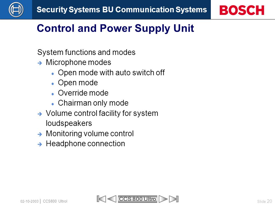 Security Systems BU Communication Systems Slide 20 CCS 800 Ultro CCS800 Ultrol 02-10-2003 System functions and modes  Microphone modes Open mode with
