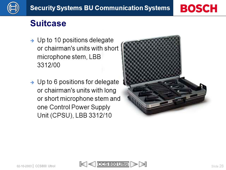 Security Systems BU Communication Systems Slide 28 CCS 800 Ultro CCS800 Ultrol 02-10-2003  Up to 10 positions delegate or chairman's units with short
