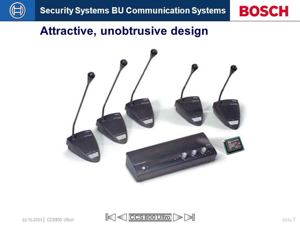 Security Systems BU Communication Systems Slide 7 CCS 800 Ultro CCS800 Ultrol 02-10-2003 Attractive, unobtrusive design
