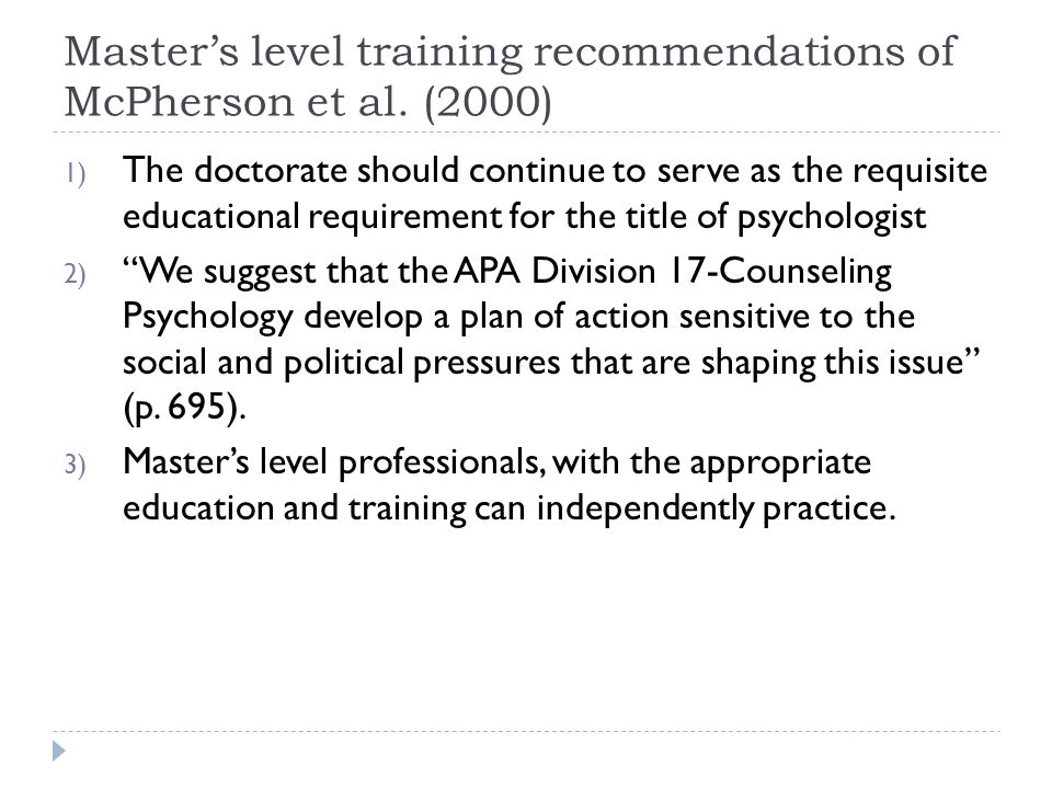 Master's level training recommendations of McPherson et al.
