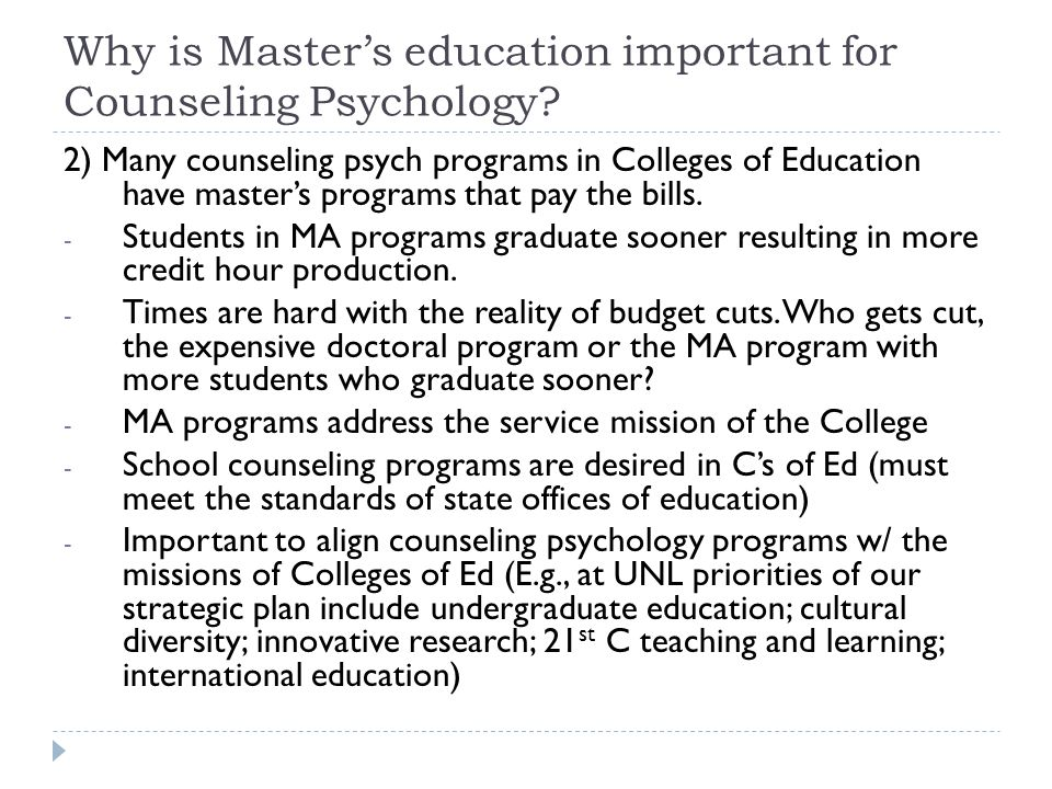 Why is Master's education important for Counseling Psychology.