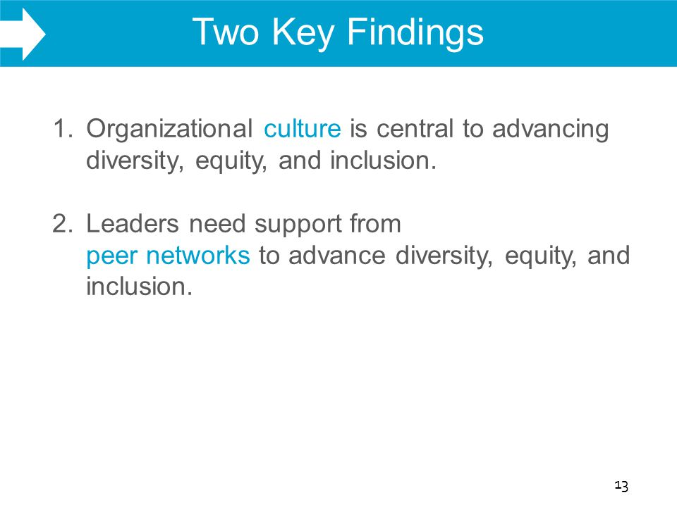 WHAT WE DO Two Key Findings 13 1. Organizational culture is central to advancing diversity, equity, and inclusion. 2. Leaders need support from peer n
