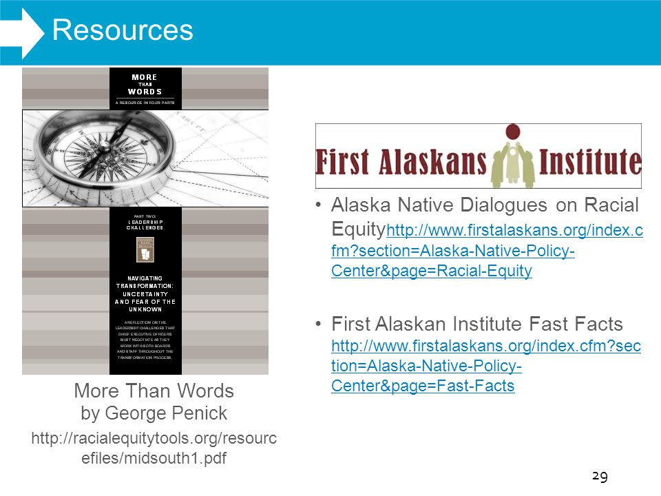 WHAT WE DO Alaska Native Dialogues on Racial Equity http://www.firstalaskans.org/index.c fm?section=Alaska-Native-Policy- Center&page=Racial-Equity ht