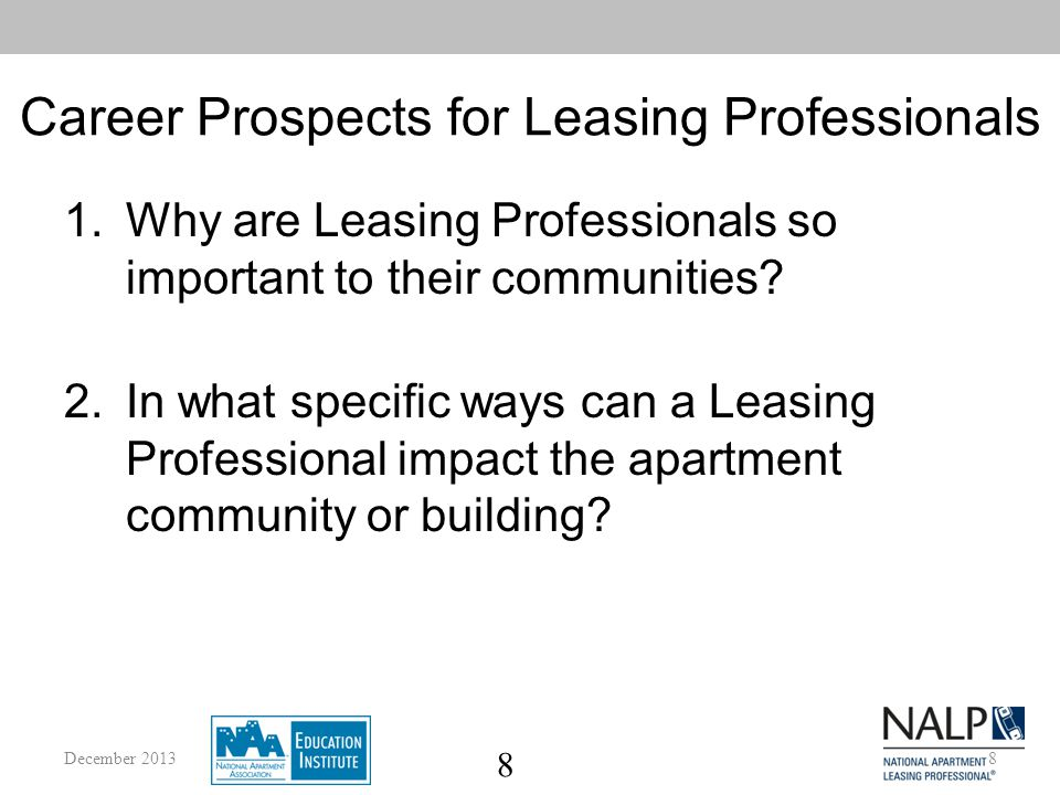 9 Career Prospects for Leasing Professionals 4.