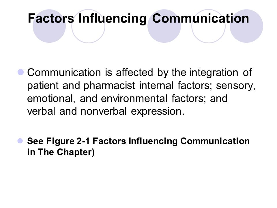Factors Influencing Communication Communication is affected by the integration of patient and pharmacist internal factors; sensory, emotional, and env