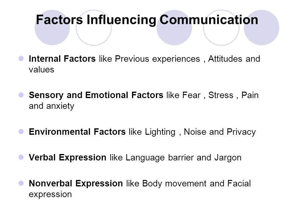 Factors Influencing Communication Internal Factors like Previous experiences, Attitudes and values Sensory and Emotional Factors like Fear, Stress, Pa
