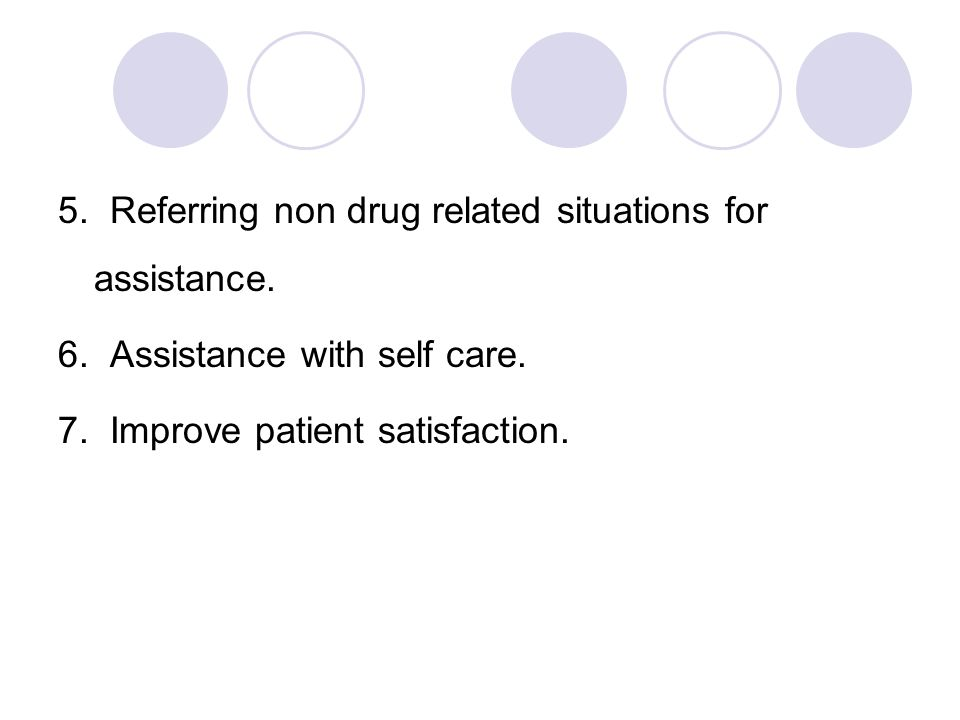 5. Referring non drug related situations for assistance. 6. Assistance with self care. 7. Improve patient satisfaction.