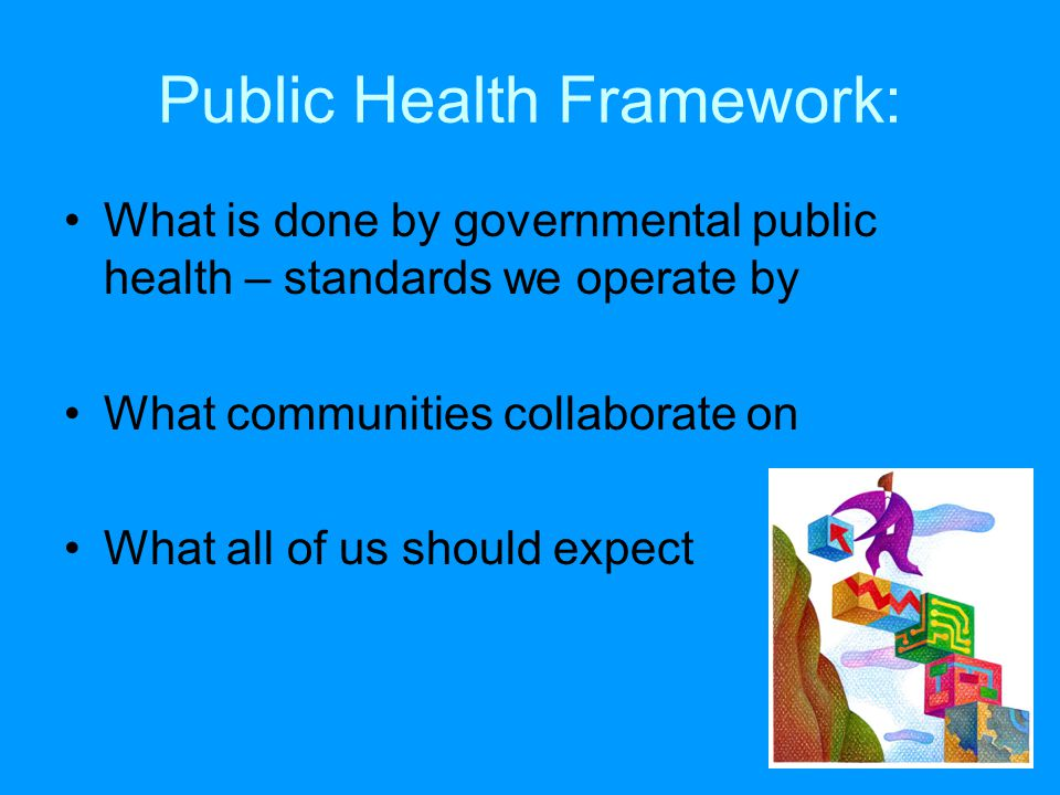 Public Health Framework: What is done by governmental public health – standards we operate by What communities collaborate on What all of us should ex