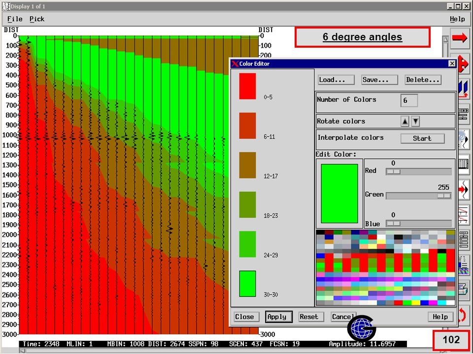 Color Display Parameters (6 degree) 6 degree angles 102