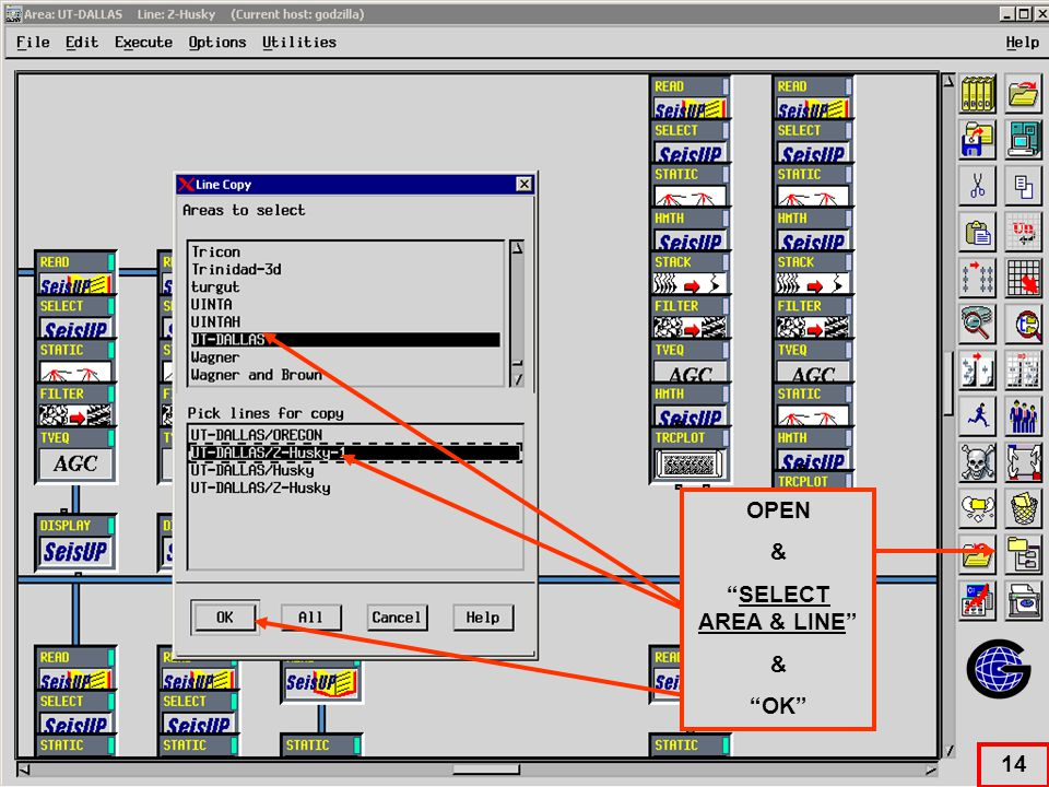 Select Area / Line to send copied modules. OPEN & SELECT AREA & LINE & OK 14