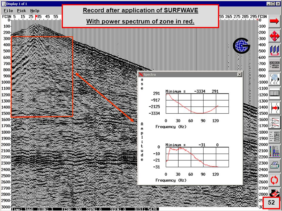 Surfwave with Power Spectrum Record after application of SURFWAVE With power spectrum of zone in red.