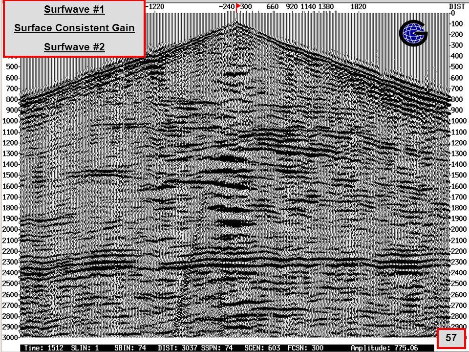 SurfWave1+SGN+SGNE+SurfWave2(qc5) 57 Surfwave #1 Surface Consistent Gain Surfwave #2