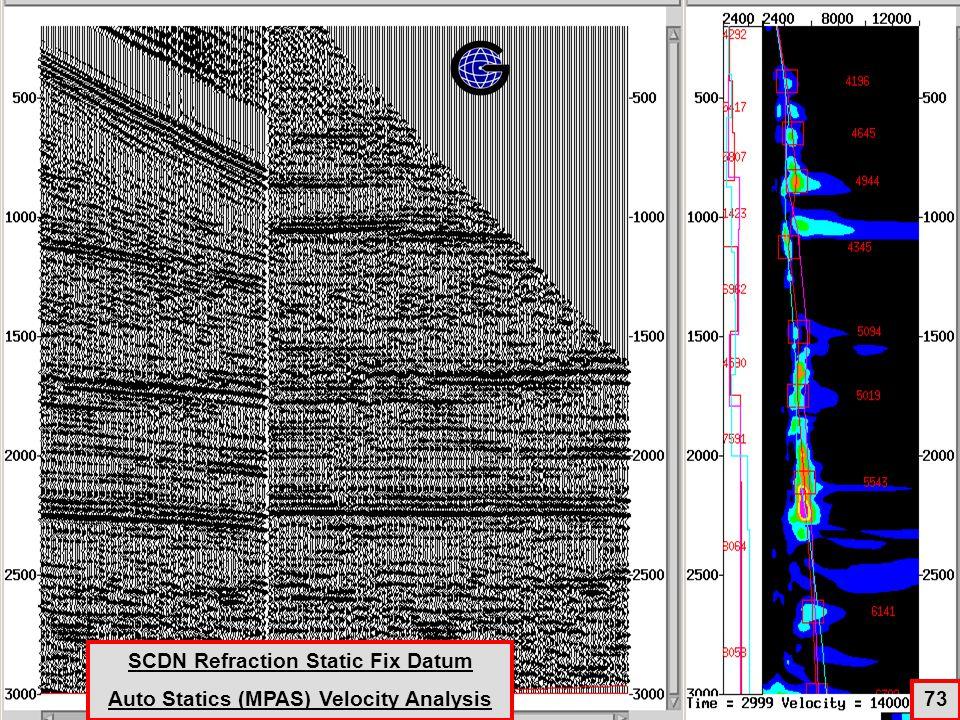 ScDecon+Refraction Statics +AutoStatics(MPAS) +Velocity Analysis 73 SCDN Refraction Static Fix Datum Auto Statics (MPAS) Velocity Analysis