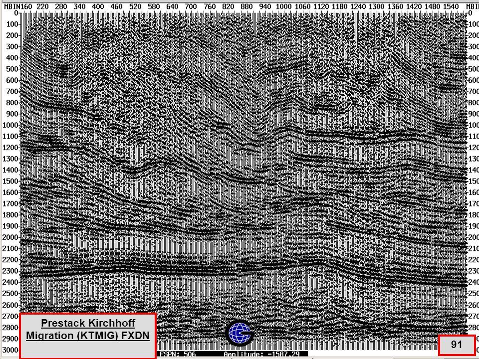 Prestack Kirchhoff Migration (KTMIG) +Stack + FXDN + Filter AGC 91 Prestack Kirchhoff Migration (KTMIG) FXDN