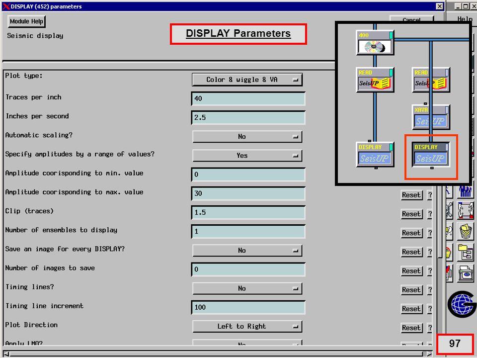 Display Parameters for Xava QC DISPLAY Parameters 97