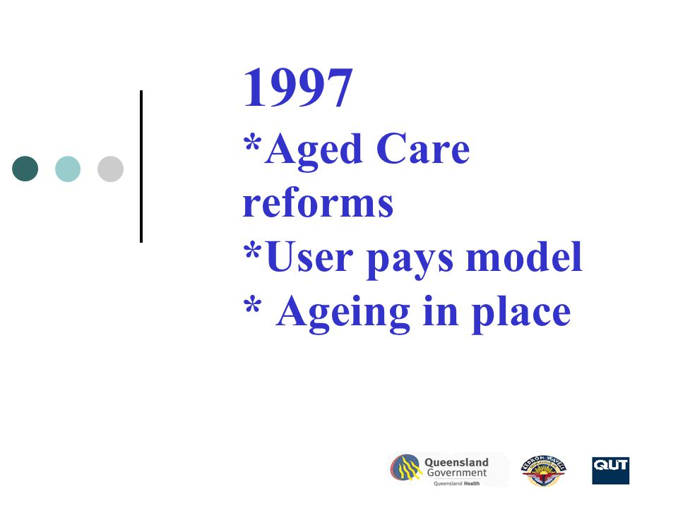 1997 *Aged Care reforms *User pays model * Ageing in place