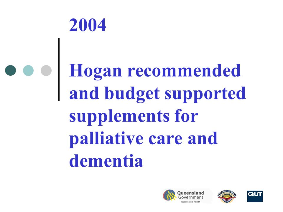 2004 Hogan recommended and budget supported supplements for palliative care and dementia
