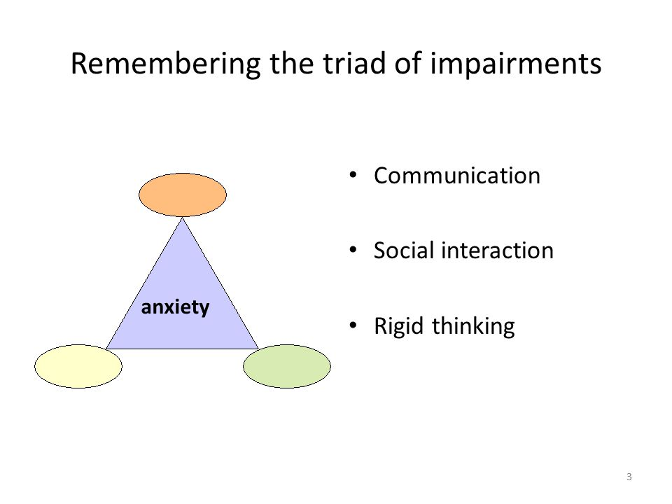 33 Remembering the triad of impairments Communication Social interaction Rigid thinking anxiety