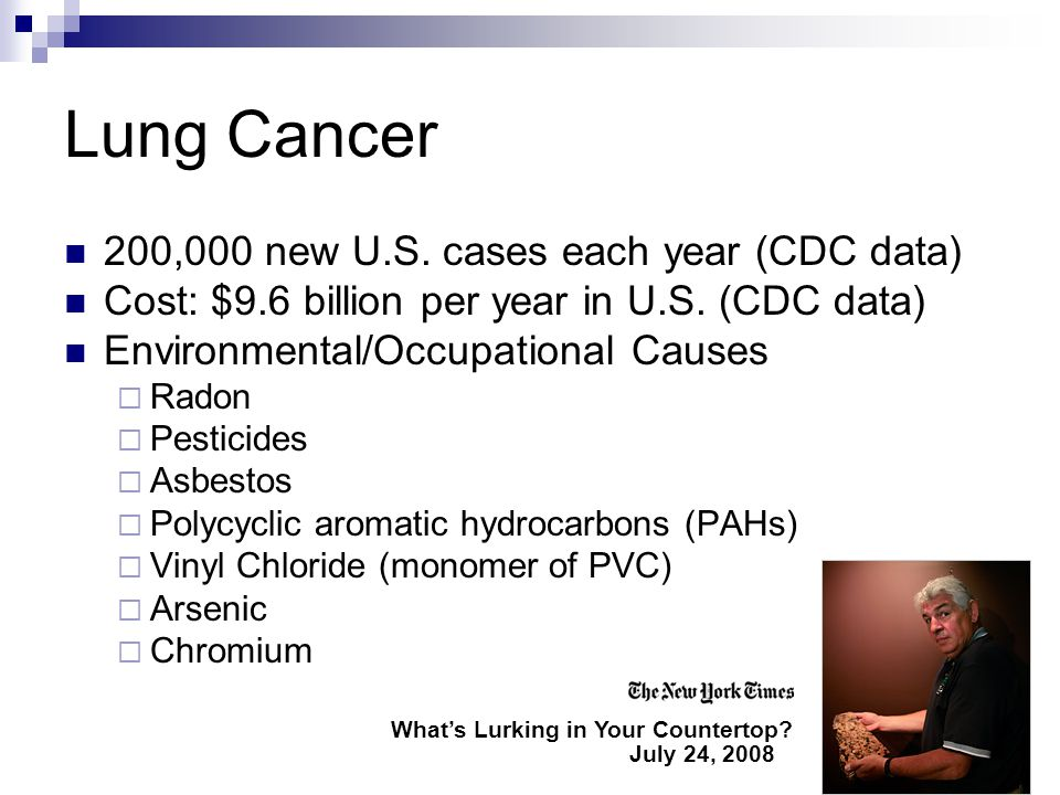 Lung Cancer 200,000 new U.S. cases each year (CDC data) Cost: $9.6 billion per year in U.S.