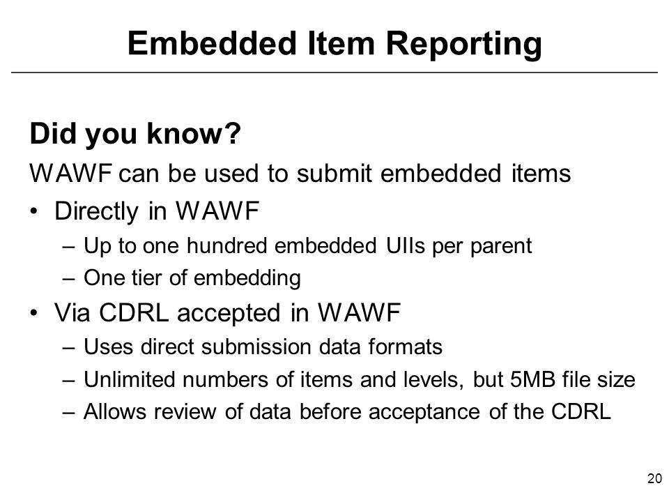 Embedded Item Reporting Did you know.