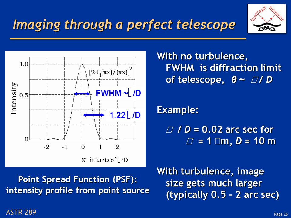 Page 26 ASTR 289 Imaging through a perfect telescope With no turbulence, FWHM is diffraction limit of telescope, θ ~  / D Example:  / D = 0.02 arc sec for  = 1  m, D = 10 m With turbulence, image size gets much larger (typically 0.5 - 2 arc sec) FWHM ~  /D in units of  /D 1.22  /D Point Spread Function (PSF): intensity profile from point source