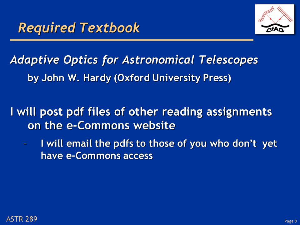 Page 29 ASTR 289 How does adaptive optics help.