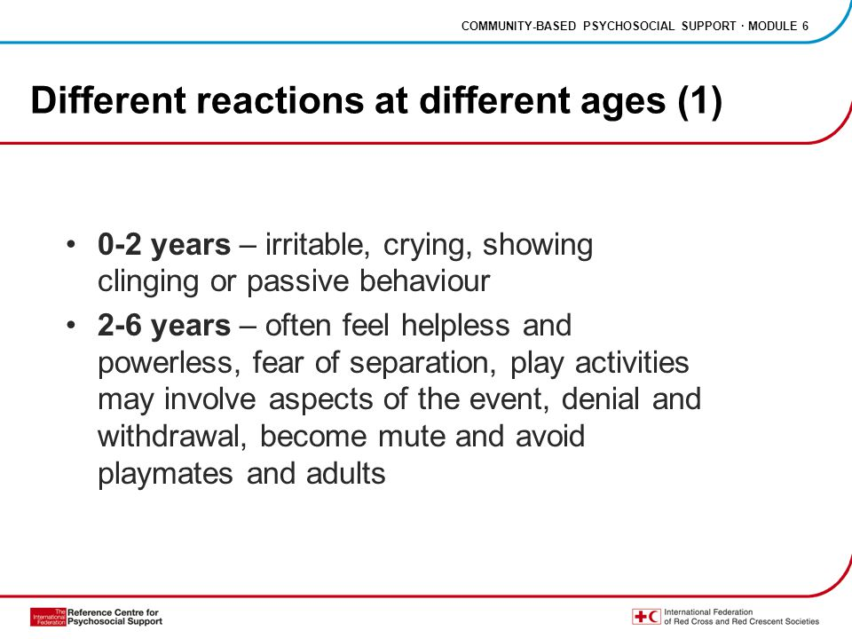 COMMUNITY-BASED PSYCHOSOCIAL SUPPORT · MODULE 6 Different reactions at different ages (2) 6-10 years – guilt, feelings of failure, anger, fantasies of playing rescuer, intensely preoccupied with details of the event 11-18 years – responses resemble adult reactions, irritation, rejection of rules and aggressive behaviour, fear, depression, risk- taking behaviour, may attempt suicide