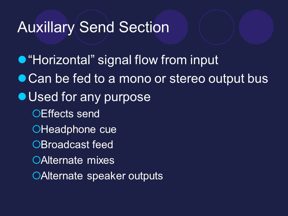 Auxillary Send Section Horizontal signal flow from input Can be fed to a mono or stereo output bus Used for any purpose  Effects send  Headphone cue  Broadcast feed  Alternate mixes  Alternate speaker outputs