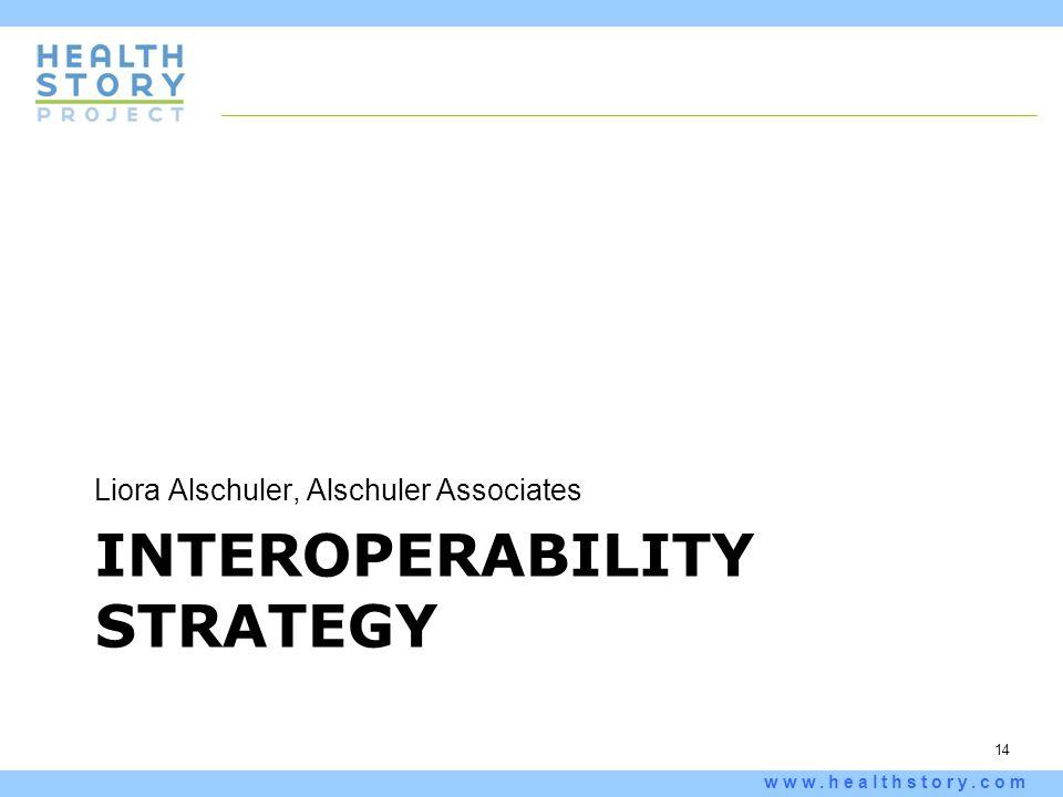 14 www.healthstory.com INTEROPERABILITY STRATEGY Liora Alschuler, Alschuler Associates