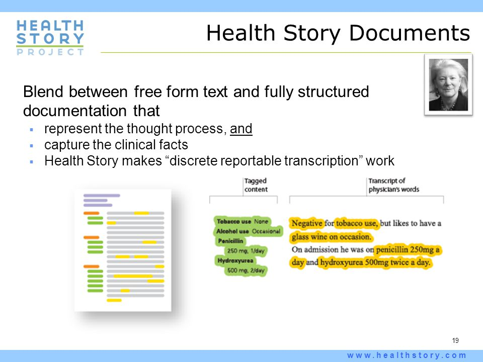19 www.healthstory.com Health Story Documents Blend between free form text and fully structured documentation that  represent the thought process, an