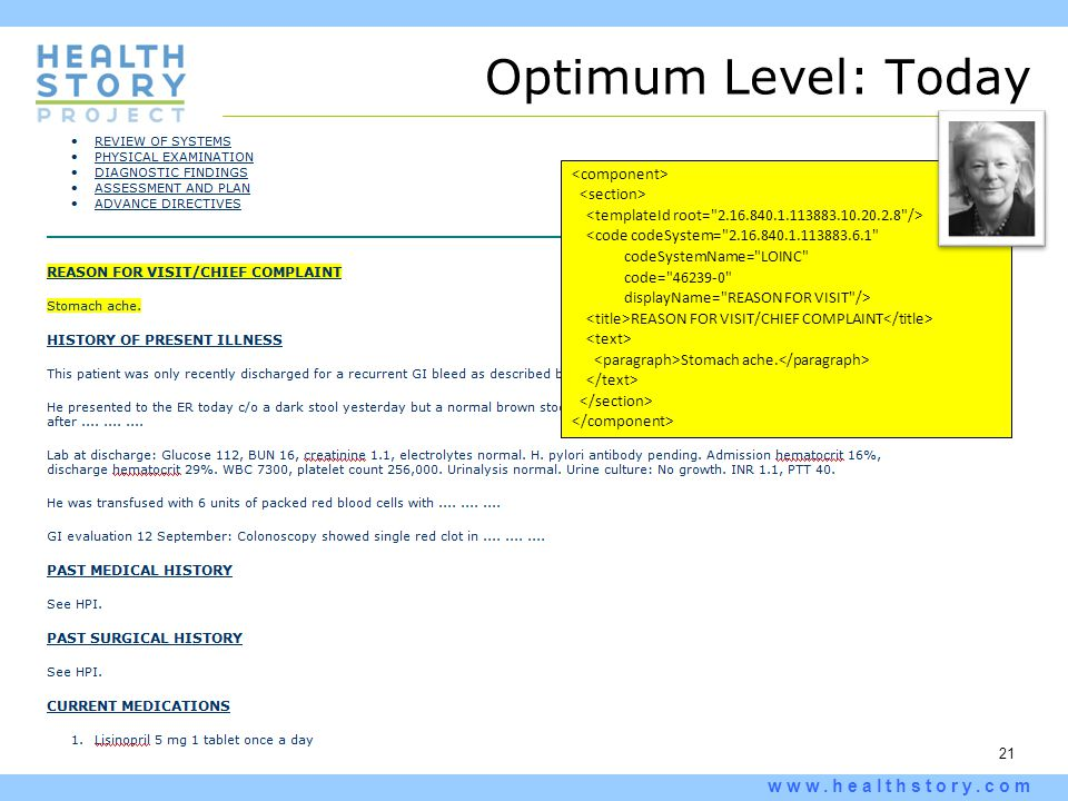 21 www.healthstory.com Optimum Level: Today <code codeSystem=