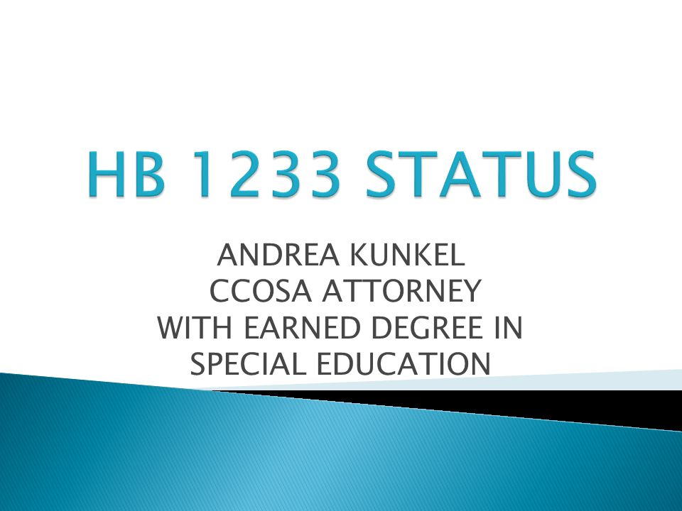 ANDREA KUNKEL CCOSA ATTORNEY WITH EARNED DEGREE IN SPECIAL EDUCATION