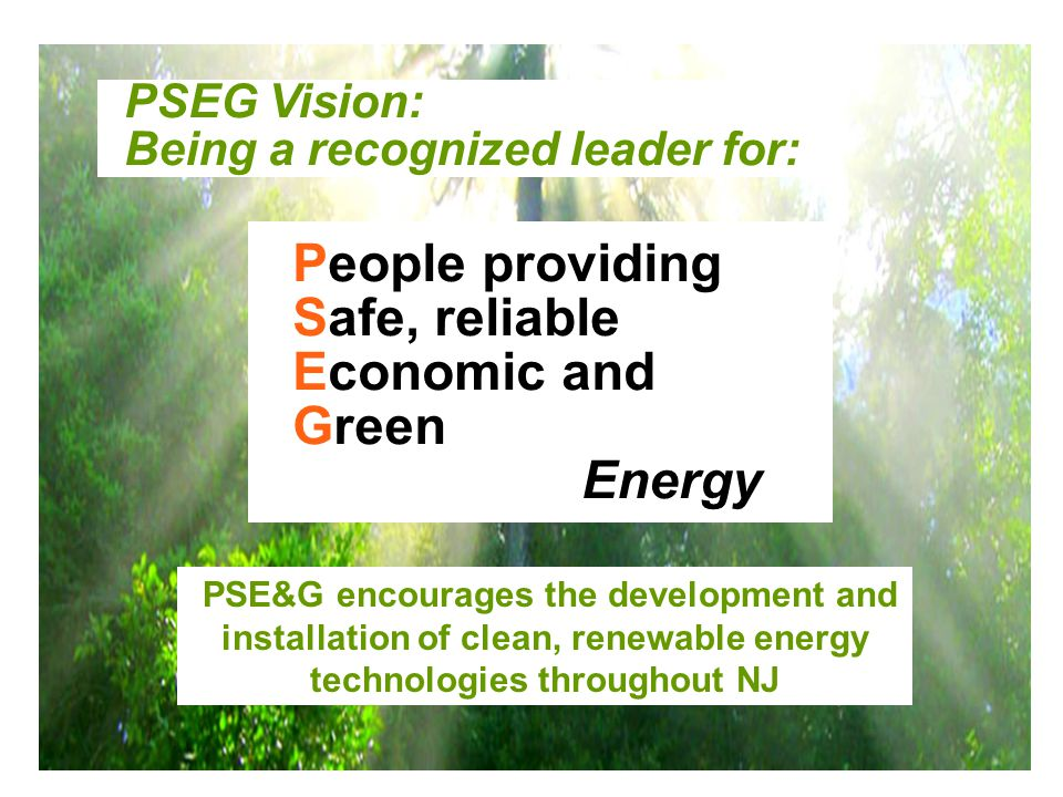 4 PSE&G encourages the development and installation of clean, renewable energy technologies throughout NJ People providing Safe, reliable Economic and Green Energy PSEG Vision: Being a recognized leader for: