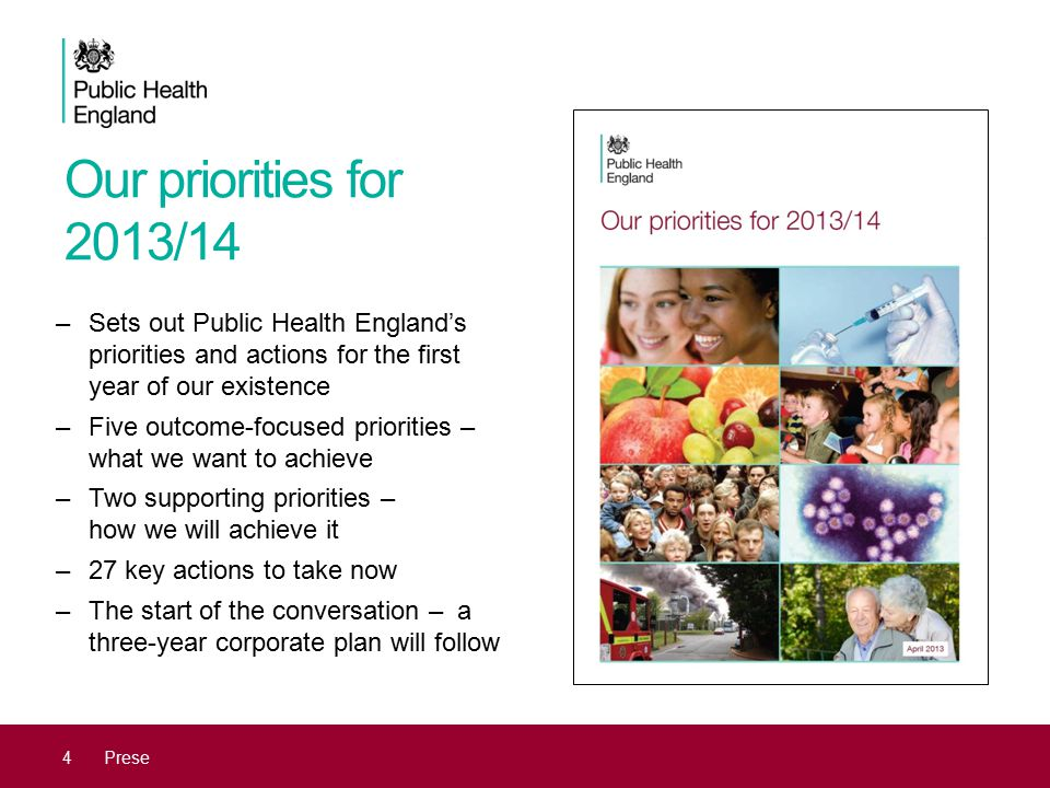 Our priorities for 2013/14 4Prese –Sets out Public Health England's priorities and actions for the first year of our existence –Five outcome-focused p