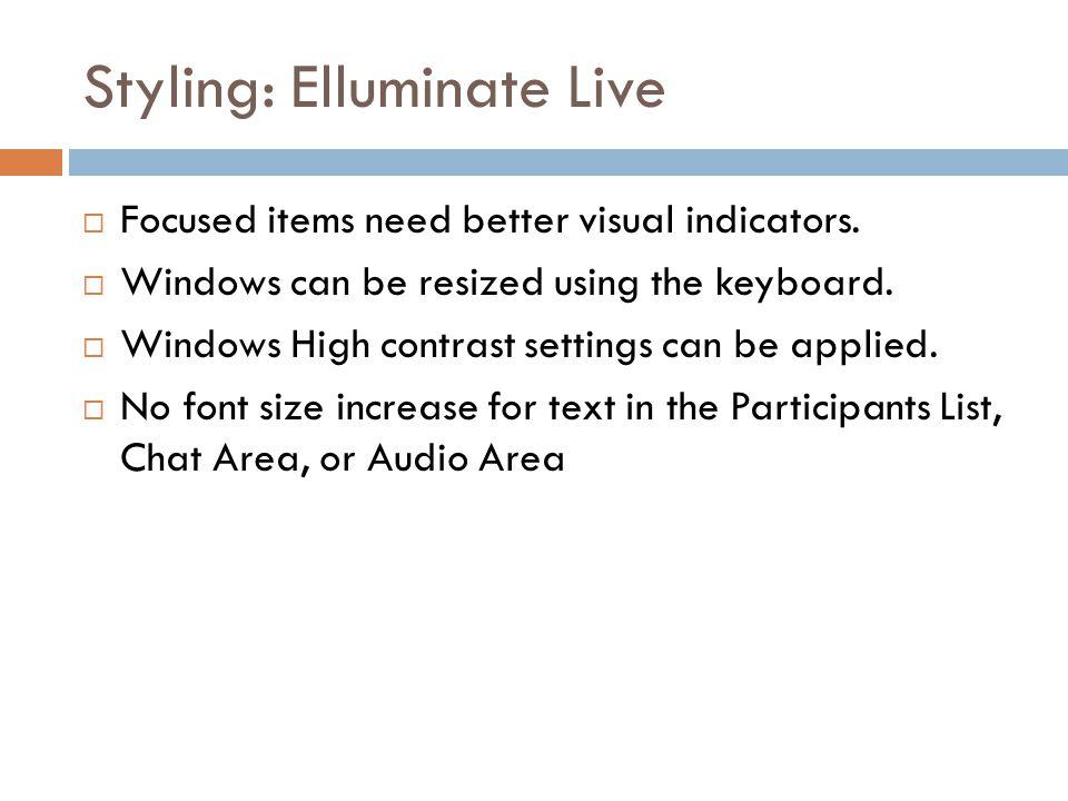 Styling: Elluminate Live  Focused items need better visual indicators.