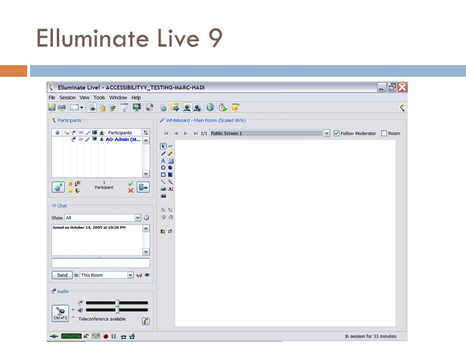 Navigation: Elluminate Live  Menu system itself is accessible to keyboard and screen reader users.
