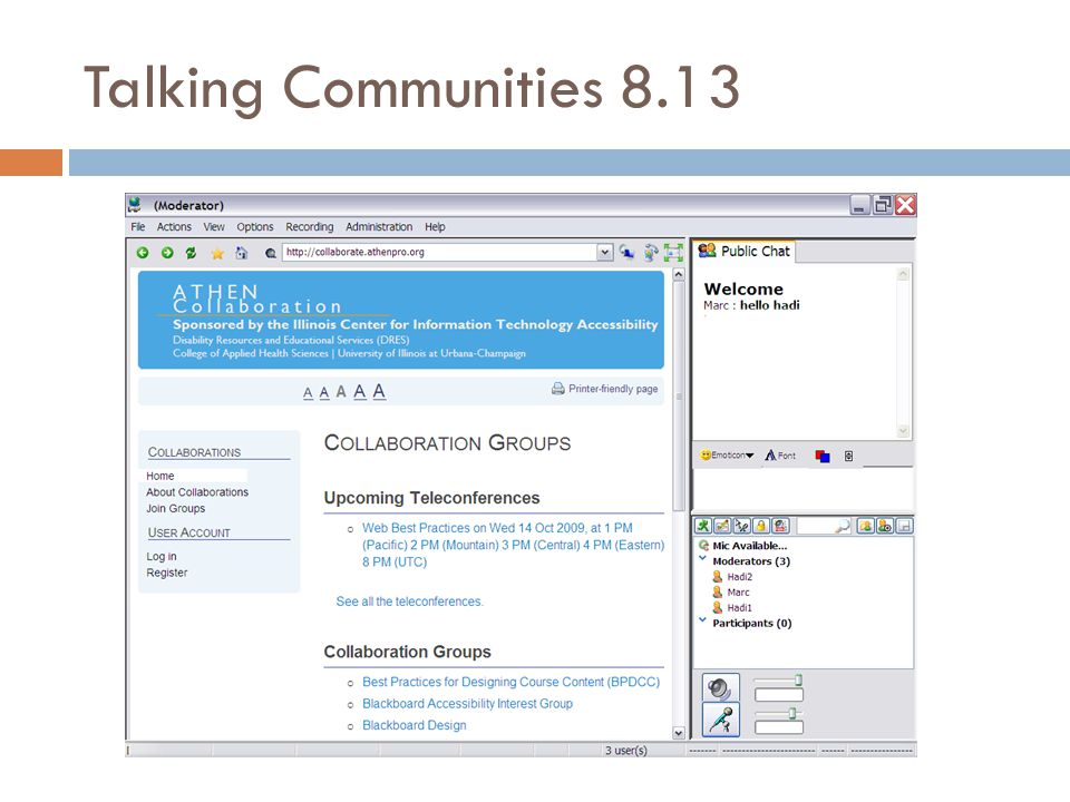 Navigation: Talking Communities  Fully accessible menu system.