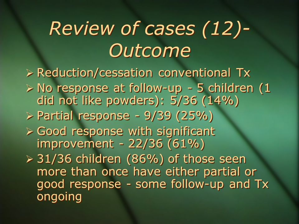 Review of cases (12)- Outcome  Reduction/cessation conventional Tx  No response at follow-up - 5 children (1 did not like powders): 5/36 (14%)  Par