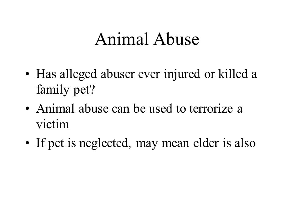 Animal Abuse Has alleged abuser ever injured or killed a family pet? Animal abuse can be used to terrorize a victim If pet is neglected, may mean elde