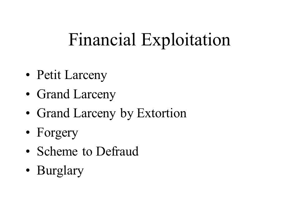 Financial Exploitation Petit Larceny Grand Larceny Grand Larceny by Extortion Forgery Scheme to Defraud Burglary